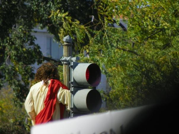Jesus on a traffic light
